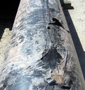 Oilfield pipe before covering removed