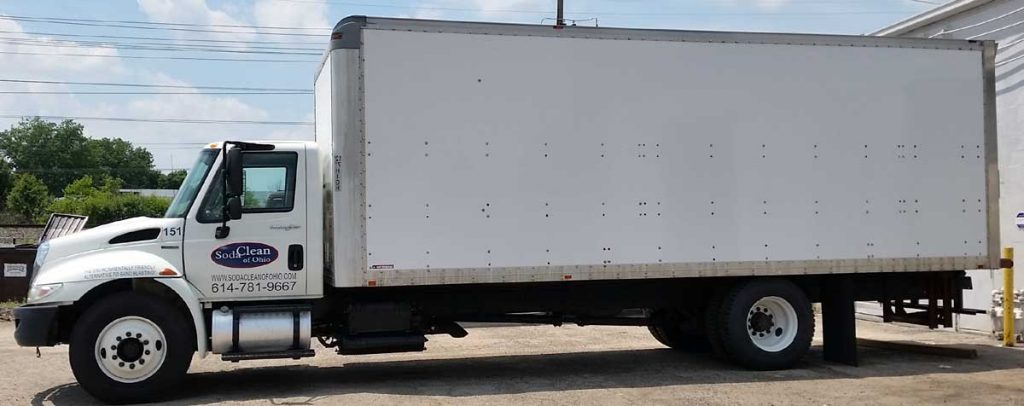 Soda Clean box truck containing our mobile equipment