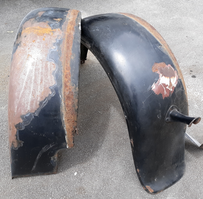 Model A fenders before soda blasting