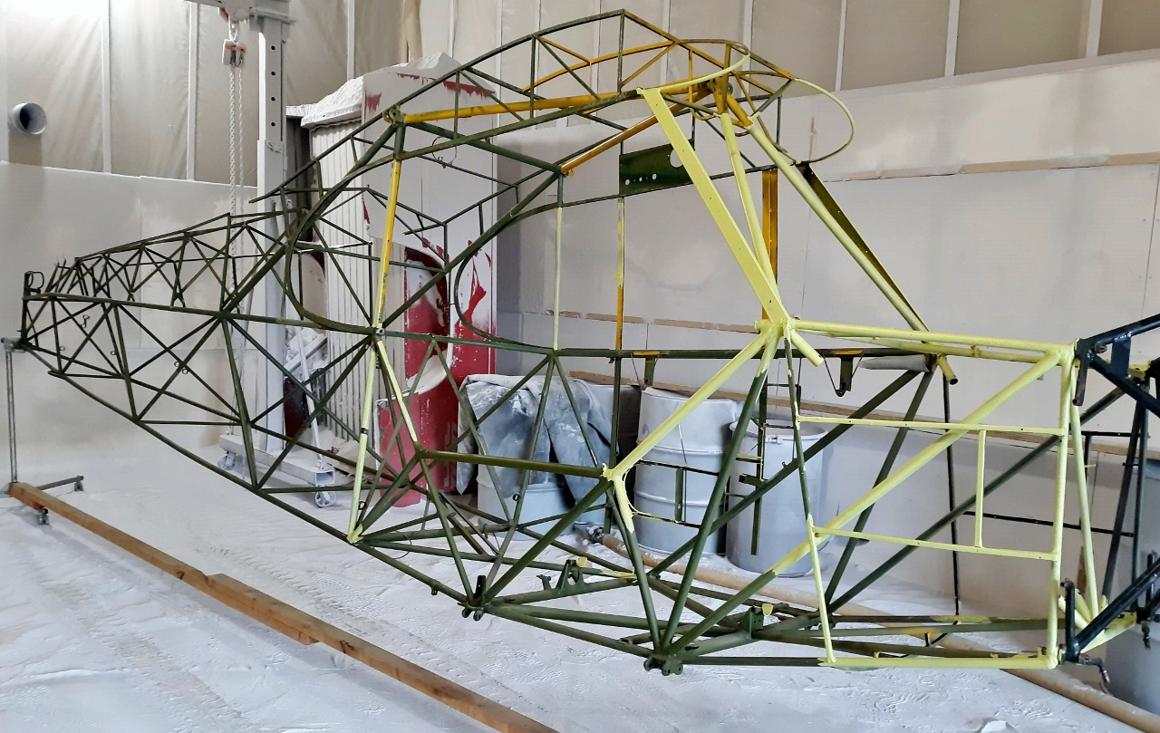 Ultralight airplane frame before soda blasting